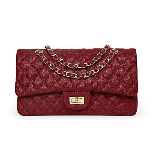 Tellusa Luxury Brand Double Flap Bag Women Genuine Cow Leather Classic Caviar Shoulder Bag Handbag Totes Red Black Grey red 27X8X16cm