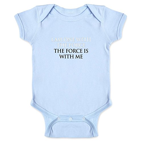 Pop Threads I Am One With The Force The Force Is With Me Light Blue 6M Infant Bodysuit by (Force Lite)