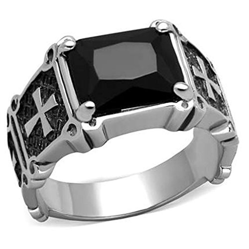 Cyber Mens Cross Punk Ring Size 8 - 1