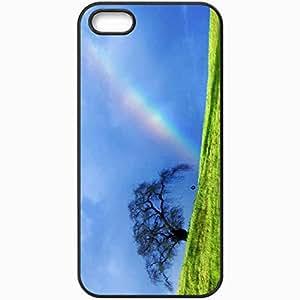 Unique Design Fashion Protective Back Cover For iPhone 5 5S Case Nature Rainbow Hd Wallpaper Nature Black