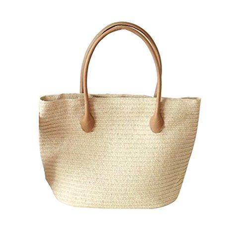 YOUJIA Damen Gewebt Handtasche Strand Tragetaschen Einkaufstasche Aus Form-Eimer #2 Beige