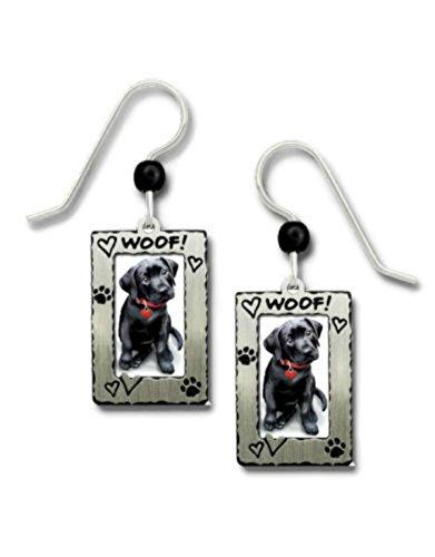 SIENNA SKY Black Labrador Retriever Dog Woof Frame Silvertone Hook Earrings 1915