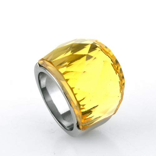 Aokarry Jewelry Women Stainless Steel Ring Promise Anniversary Polished Arc Crystal Ring for Women Light Yellow Size 9