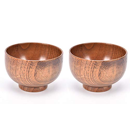 (MOTZU 2 Pieces Jujube Wooden Bowl, Japanese Natural Wood Rice Noddle Soup Bowl, Grain/Natural Snack Bowl Serving Dish Food Container Tableware)