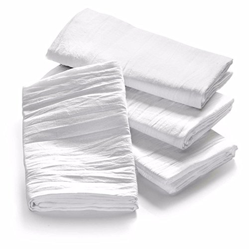 Globe House Products GHP 60-Pcs 32''x28'' White Flour Sack Lint-Free Absorbent Cotton Cleaning Dish Towels by Globe House Products