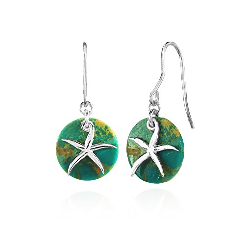 Sterling Silver Simulated Turquoise Round Polished Starfish Dangle -