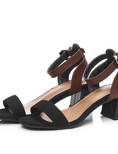 LFNLYX Zapatos de mujer-Tacón Robusto-Talón Descubierto / D'Orsay y Dos Piezas / Punta Abierta-Sandalias-Oficina y Trabajo / Vestido / Casual-PU- Black