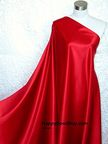 100% Pure Silk Charmeuse Fabric Red 3 Yards Happygoodbuy.com