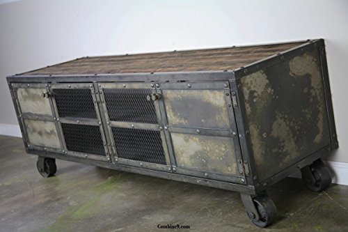 Vintage Industrial Buffet, Media Console, Reclaimed wood top.