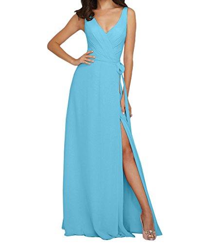Lang Chiffon Blau Abendkleider Rosa V Anmutig Partykleider A Ausschnitt Brautjungfernkleider Marie Linie La Braut OIwqvRR