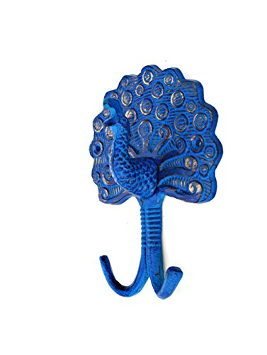 Peacock Wall Hook in Electric Blue Finish- 7.5'' Height by MarktSq