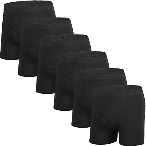 Mens Boxer Brief No Ride up Cotton Underwear Men Pack Assorted (Black Cotton Boxer)