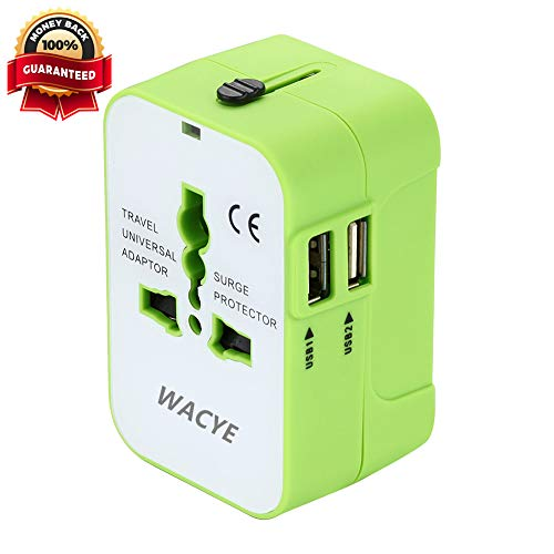 International Travel Adapter,Wacye Universal World Power Adapter Converter AC Power Plug Adapter for Europe USA UK AUS Asia (Green,2 USB)