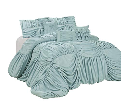 HIG 7 Piece Comforter Set King-Microfiber Fabric Full Square Ruffles-VALENTINUS Bed in A Bag-Soft, Hypoallergenic,Fade Resistant-1 Comforter,2 Shams,3 Decorative Pillows,1 Bedskirt (Blue, ()