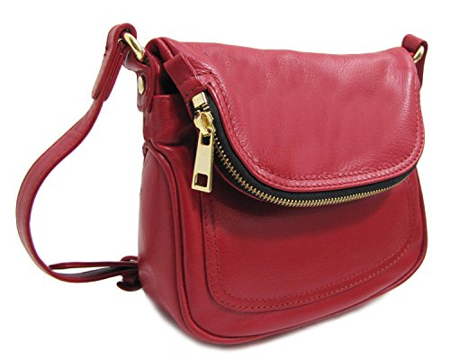 Leather Cross Handbag Cross body Red Leather rrd0qwg