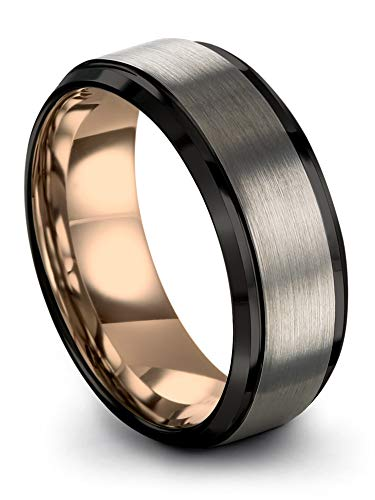 Midnight Rose Collection Tungsten Wedding Band Ring 8mm for Men Women 18k Rose Gold Plated Step Bevel Edge Black Grey Brushed Polished Size 10.5 ()
