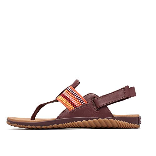 Sorel - Women's Out N About Plus Thong Sandals with Ankle Strap, Full-Grain Leather, Elderberry, 6 M US