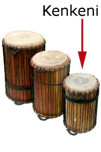 Kenkeni Dunun Bass Drum with stick - 10x20 African Cow Skin Dundun by Africa Heartwood Project