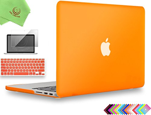 UESWILL 3in1 Matte Hard Case for MacBook Pro (Retina, 15-inch, Mid 2012/2013/2014/Mid 2015), Model A1398, NO CD-ROM, NO Touch Bar + Keyboard Cover and Screen Protector, Orange