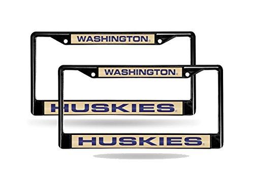 Rico Washington Huskies NCAA Black Metal (2) Laser Cut License Plate Frame Set (Washington Laser Huskies)