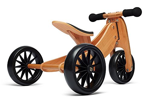 Kinderfeets TinyTot Wooden Balance Bike and Tricycle, Convertible No Pedal Balance Trike for Kids and Push Bike, Natural - 2 in 1 (Childrens Pedal)