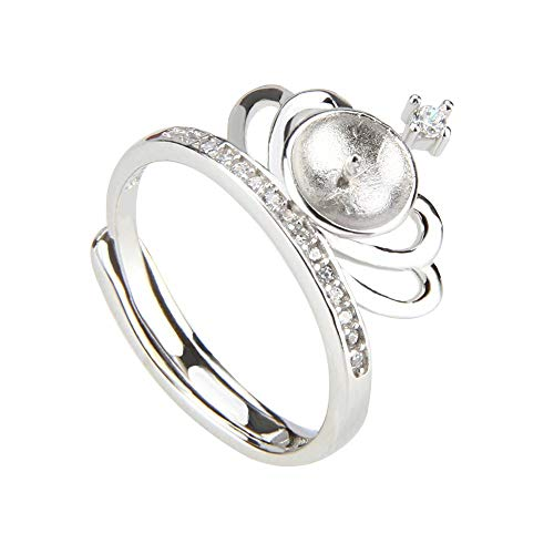 NY Jewelry 925 Sterling Silver Crown Rings for Pearl, Adjustable Pearl Ring Fittings/Accessories/Mountings for Women Jewelry Making