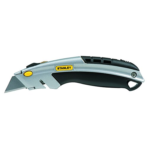 Stanley 10788 Curved Quick-Change Utility Knife, Stainless Steel Retractable Blade, 3 Blades