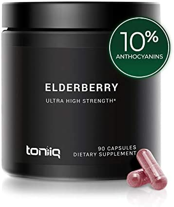 Ultra High Strength Elderberry Capsules - 30,000mg 30x Concentrated Extract - The Strongest Elderberry Supplement Available - 10 Anthocyanins - Immune Support Supplement - 90 Capsules