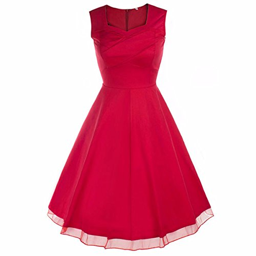 Teen Red M&m Party Dress (Samtree Women's 1950s Hepburn Style Vintage Garden Cocktail Party Swing Dress(M(4-6),01-Red))
