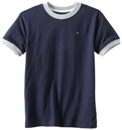 Tommy Hilfiger Big Boys' Core Crew Neck Ken Tee, Core Navy, Small (8/10) (Tommy Hilfiger Polo Sale)