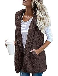 XQS Women Classic Sleeveless Open Front Warm Hoodie Vest Outwear Jacket