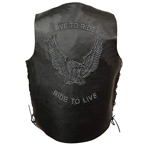 Event Leather Men's Vest with Embossed Eagle In Flight (Black, - Boot Eagle Leather