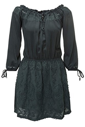 L Charcoal khujo Off Damen 281 Kleid Shoulder Sommerkleid qz88TRwX