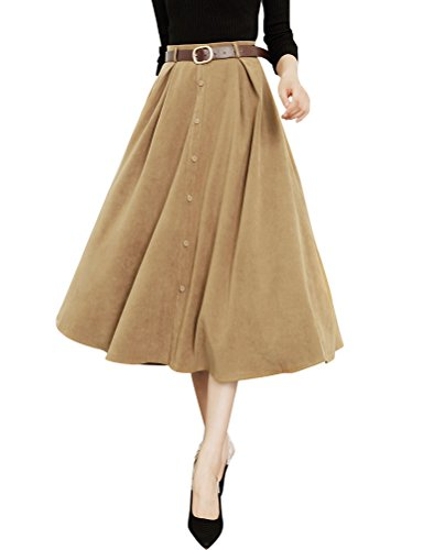 Ezcosplay Women Elegant Solid High Waist A-line Skirt Suede Midi Skirt with Belt