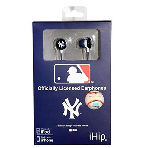 iHip MLF10169NYY MLB New York Yankees Printed Ear Buds, Blue/White