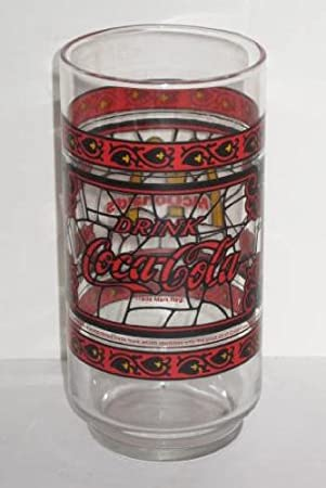 32a7e887133201 Amazon.com | Vintage Canadian McDonalds Red Coca Cola Coke Glass ~ Stained  Glass Design: Shot Glasses: Shot Glasses
