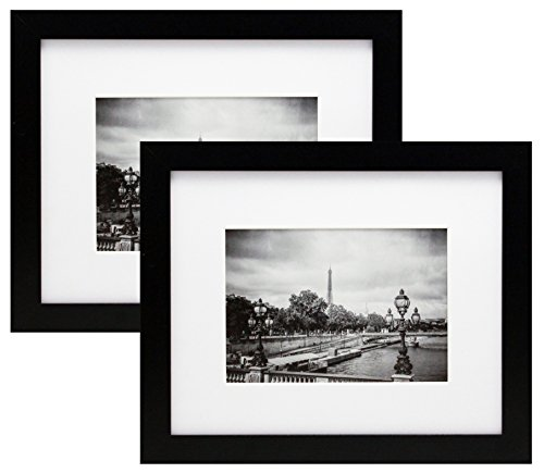 2 Pack 8x10 Black Picture Frames with 5x7 Inch Mat - Wide Mo