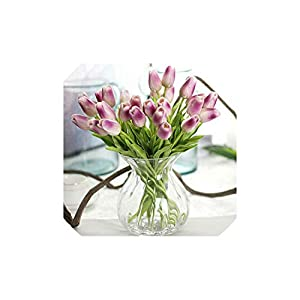 Fly-Town 1PC Mini Tulips Artificial Flowers Real Touch Tulip for Home Wedding Decoration Flowers,Light Purple 67
