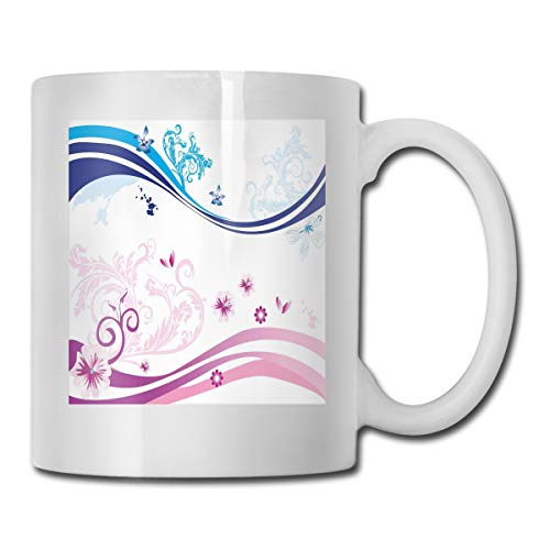 (Funny Ceramic Novelty Coffee Mug 11oz,Modern Digital Swirls Ivy Flowers Leaves And White Backdrop Image,Unisex Who Tea Mugs Coffee Cups,Suitable for Office and Home)