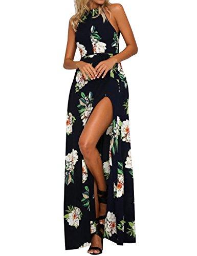 Kbook Women's Floral Print Sleeveless Halter Neck Boho Summer Beach Party Maxi Dress