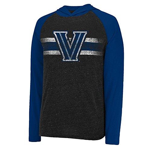 J America NCAA Villanova Wildcats Men's Free Style Hooded Slub Tee, Medium, Black Heather/Navy ()