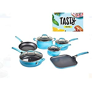 Tasty Cookware Set Non-Stick - Diamond Reinforced - PFOA Free,11 Pieces (Blue)