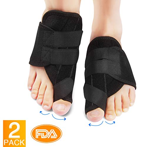 Bunion Corrector with Self-Adhesive Buckle Design Bunion Splint with Gel Toe Separators and Protect Sleeves Bunion Pain Relief Kit for Hallux Valgus Day Night Time Support for Women Men 1 Pair ()