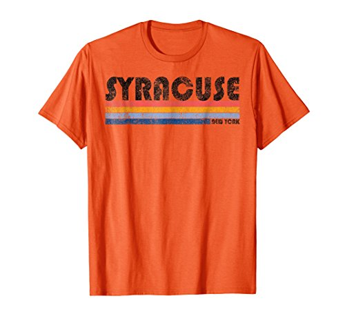Mens Vintage 1980S Style Syracuse New York T Shirt Small Orange