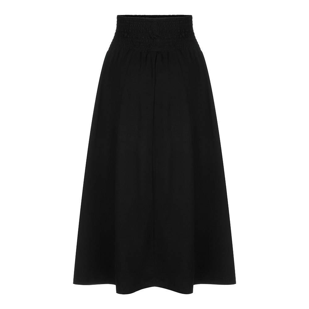 Womens Fashion Elastic Waist Solid Pleated Vintage A-line Loose Long Skirts Black by Cardigo (Image #5)