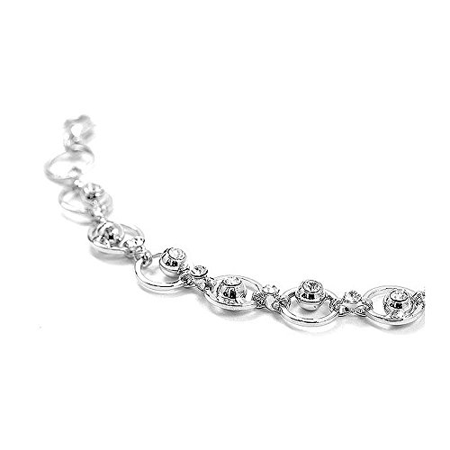 Glamorousky Fantastic Circle Bracelets with Silver Austrian Element Crystals (1216)