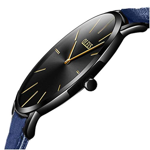 Womens Minimalist Ultra Thin Large Face Leather Dress Wrist Watches Waterproof OLEVS Ladies Royal Blue Simple Casual Slim Big Dial Gold Index Analog Quartz Watch for Female with Classic Strap Gifts