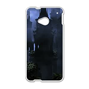 Personalized protective cell phone case for HTC M7,old deserted castle design