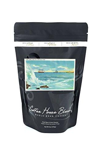 Bean Casco Bay - Portland, Maine - View of a Surf Scene, Ships on Casco Bay (8oz Whole Bean Small Batch Artisan Coffee - Bold & Strong Medium Dark Roast w/Artwork)