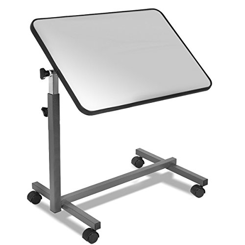Goplus Overbed Table Adjustable Medical Bedside Table Hospital Food Tray Rolling Laptop Desk with Tilting Top (Gray)